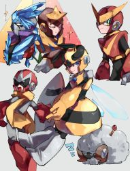 1girl, 4boys, animalization, antennae, armor, black bodysuit, blue eyes, blue hair, blues (rockman), bodysuit, boots, breastplate, brown headwear, chikichi, cowboy shot, crop top, cropped legs, crystal, elbow gloves, eyes closed, forehead jewel, from behind, full body, gloves, green eyes, grey background, grey bodysuit, grey footwear, grey gloves, hands together, happy, helmet, highres, holding, holding shield, honey woman, horns, ice, insect wings, knee boots, long hair, looking back, multiple boys, open mouth, outstretched arms, ponytail, quickman, red footwear, red gloves, red headwear, rockman, rockman 10, rockman 11, rockman 2, rockman 3, rockman 5, scarf, sheep, sheepman, shield, shoulder armor, simple background, skirt, sleeping, smile, sparkle, spikes, spread arms, standing, star (symbol), starman (rockman), striped, striped skirt, tied hair, tundra man, v arms, vambraces, wings, yellow gloves, yellow headwear, yellow scarf, yellow skirt, zzz