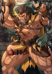 Rule 34   2boys, abs, anal, bar censor, bara, bare pecs, bellsaltr, breath, brown hair, censored, chest harness, colored skin, cross scar, cum, cum in ass, cum while penetrated, erection, facial hair, feet out of frame, flaming eye, goatee, green skin, harness, hercules (tokyo houkago summoners), highres, large pectorals, large penis, legs apart, loincloth, long sideburns, male focus, mature male, monster boy, multiple boys, muscular, muscular male, navel, nipples, nude, official alternate costume, orc, penis, precum, rape, scar, scar on chest, sex, short hair, sideburns, size difference, solo focus, standing, standing sex, stomach, thick thighs, thighs, tokyo houkago summoners, veins, yaoi