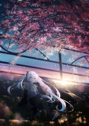 1girl, absurdres, aqua eyes, aqua hair, bangs, bare shoulders, black legwear, black skirt, blue neckwear, blurry, blurry foreground, boots, breasts, cloud, cloudy sky, collared shirt, detached sleeves, fence, floating hair, hair ornament, hand up, hatsune miku, highres, long hair, long sleeves, looking at viewer, necktie, open hand, outdoors, pleated skirt, shirt, sidelocks, sitting, skirt, sky, smile, solo, stairs, sunset, thigh boots, thighhighs, tree, twintails, very long hair, vocaloid, yuwari92, zettai ryouiki