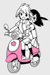 2girls, :d, bangs, blush, collared shirt, commentary request, disconnected mouth, dot nose, grey background, ground vehicle, happy, highres, hitori bocchi, hitoribocchi no marumaru seikatsu, katsuwo (cr66g), long hair, looking at viewer, mole, mole under eye, motor vehicle, motorcycle, multiple girls, on motorcycle, open mouth, pleated skirt, riding, school uniform, shirt, shoes, short hair, short sleeves, simple background, skirt, smile, socks, spot color, sunao nako