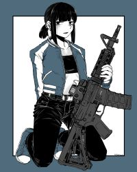 1girl, absurdres, androgynous, assault rifle, bangs, belt, belt buckle, buckle, crop top, denim, flat chest, gun, highres, holding, holding weapon, jacket, jeans, kneeling, limited palette, medium hair, original, pants, ponytail, rifle, snickers, taida, weapon, weapon request