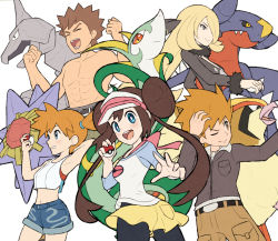 2boys, 3girls, abs, bangs, belt, black legwear, blonde hair, blue eyes, blue oak, blush, bow, bright pupils, brock (pokemon), brown hair, clenched hands, closed mouth, coat, commentary request, creatures (company), cynthia (pokemon), double bun, eyes closed, fur-trimmed coat, fur collar, fur trim, game freak, garchomp, gen 1 pokemon, gen 4 pokemon, gen 5 pokemon, gonzarez, grey eyes, hair ornament, hair over one eye, hair tie, hands up, holding, holding poke ball, jacket, long sleeves, misty (pokemon), multiple boys, multiple girls, navel, nintendo, one eye closed, onix, open mouth, orange hair, pants, pantyhose, pidgeot, pink bow, poke ball, poke ball (basic), pokemon, pokemon (creature), pokemon (game), pokemon bw2, pokemon dppt, pokemon hgss, pokemon lgpe, pokemon masters ex, raglan sleeves, rosa (pokemon), serperior, shirt, shirtless, short hair, short shorts, shorts, side ponytail, simple background, smile, spiked hair, starmie, tank top, teeth, tied hair, tongue, twintails, visor cap, white background, yellow shorts