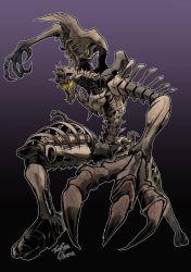 1boy, asymmetrical arms, beast wars, claws, fingernails, fossil, long fingers, oohara tetsuya, paleotrex, predacon, purple background, sharp fingernails, signature, skeleton, transformers, transformers: war for cybertron trilogy, yellow eyes