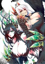 2girls, black dress, black gloves, black sclera, black wings, breasts, cleavage, colored sclera, colored skin, demon girl, demon horns, demon wings, dress, evil smile, gloves, glowing horns, green eyes, green horns, green lips, highres, horns, huge breasts, juugoya (zyugoya), lorem (mazohaha), merii (mazohaha), multiple girls, musuko ga kawaikute shikatanai mazoku no hahaoya, red eyes, red horns, sharp teeth, siblings, sisters, smile, teeth, tentacle, transformation, white background, white skin, wings