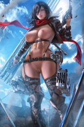 Rule 34 | 1girl, abs, absurdres, banned artist, black eyes, black hair, blue sky, breasts, cleft of venus, cloud, commentary request, functionally nude, garter belt, gun, hair between eyes, highres, holding, holding gun, holding weapon, large breasts, mikasa ackerman, navel, nipples, patreon username, pussy, red scarf, revealing clothes, sakimichan, scarf, shingeki no kyojin, short hair, signature, sky, solo, standing, thighhighs, underboob, weapon