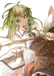 1girl, absurdres, antenna hair, blurry, closed mouth, depth of field, gohei, green eyes, green hair, highres, holding, holding stick, kochiya sanae, long hair, murayo, simple background, smile, solo, stick, touhou, white background