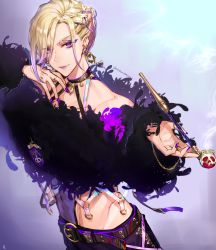 1boy, alternate costume, artist name, asymmetrical hair, belt, black belt, black collar, black feathers, blonde hair, braid, closed mouth, collar, commentary request, ear piercing, earrings, emblem, eyebrows visible through hair, eyes visible through hair, eyeshadow, fashion, feathers, fingernails, french braid, gradient hair, hair ornament, hair over one eye, hand up, heart, heart earrings, highres, holding, holding pipe, jewelry, light smile, long fingernails, long sleeves, looking at viewer, makeup, making-of available, male focus, multicolored hair, nail polish, navel, nonomaro, o-ring, piercing, pipe, purple eyes, purple eyeshadow, purple hair, purple lips, purple nails, ring, see-through, short hair, single braid, smoke, solo, stomach, thumb ring, twisted wonderland, two-tone hair, upper body, vil schoenheit