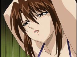 Rule 34 | animated, animated gif, blush, bound, bra, bra pull, breasts, brown hair, daraku onna kyoushi hakai, large breasts, purple bra, rape, sweat, tied up, underwear