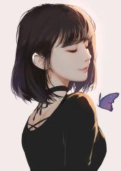 1girl, bangs, black hair, bug, butterfly, eyes closed, insect, medium hair