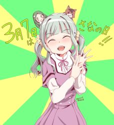 1girl, 2021, ^ ^, ai-chan (magia record), aqua background, bangs, blunt bangs, blush stickers, buttons, center frills, character doll, closed eyes, curly hair, dated, dot nose, eyebrows visible through hair, eyes closed, facing viewer, flat chest, frills, futaba sana, green background, green hair, hair ornament, hands up, high collar, jewelry, light blush, long hair, long sleeves, magia record: mahou shoujo madoka magica gaiden, mahou shoujo madoka magica, mizuna girls' academy uniform, mr nini, neck ribbon, open mouth, pink ribbon, purple skirt, ribbon, ring, school uniform, scrunchie, shiny, shiny hair, short over long sleeves, short sleeves, sidelocks, skirt, solo, star (symbol), star hair ornament, striped, striped background, stuffed animal, stuffed cat, stuffed toy, teeth, twintails, twitter username, two-tone background, uniform, upper body, upper teeth, yellow scrunchie