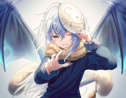 1other, androgynous, bangs, black wings, blue hair, blue jacket, brown scarf, colored eyelashes, commentary request, crying, crying with eyes open, fingernails, floating hair, fur-trimmed sleeves, fur scarf, fur trim, grey background, hair between eyes, holding, holding mask, jacket, long hair, long sleeves, looking at viewer, mask, mask on head, myung yi, one eye closed, other focus, parted lips, reaching out, rimuru tempest, scarf, solo, spread wings, sword, tassel, tears, tensei shitara slime datta ken, upper body, weapon, wings, yellow eyes
