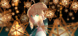 1girl, artoria pendragon (all), bangs, blonde hair, braid, collar, collared shirt, commentary request, dark background, eyebrows visible through hair, fate/stay night, fate (series), from side, green ribbon, hair between eyes, hair bun, highres, lips, looking at viewer, medium hair, neck ribbon, parted lips, ribbon, ro96cu, saber, shirt, sidelocks, simple background, solo, upper body, white shirt