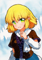 1girl, arm warmers, bangs, black shirt, blonde hair, blush, breasts, brown jacket, commentary request, eyebrows visible through hair, fang, green eyes, hair between eyes, half updo, jacket, looking at viewer, medium breasts, mizuhashi parsee, multicolored, multicolored clothes, multicolored jacket, open mouth, pointy ears, qqqrinkappp, scarf, shirt, short hair, short sleeves, skin fang, solo, touhou, traditional media, upper body, white scarf
