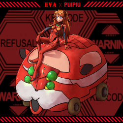 1girl, blue eyes, bodysuit, brown hair, chinese commentary, commentary request, crossover, curvy, eva 02, guinea pig, interface headset, long hair, maxiu zhi che, molcar, neon genesis evangelion, pilot suit, plugsuit, pui pui molcar, red bodysuit, shiny, shiny clothes, sitting, soryu asuka langley, two side up, typo