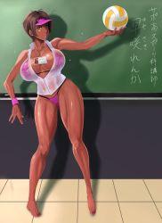 Rule 34   1girl, chalkboard, classroom, dark skin, ganguro, nb teishoku, original, translation request