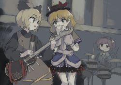 3girls, :3, arm warmers, bangs, black blouse, black bow, black hairband, black headwear, black skirt, blonde hair, blouse, blue blouse, blush, bow, breasts, brown dress, brown jacket, candle, closed mouth, commentary request, dress, drum, drum set, electric guitar, eyeball, feet out of frame, frilled shirt collar, frills, green eyes, guitar, hair bow, hairband, hat, hat bow, heart, highres, holding, holding instrument, instrument, jacket, komeiji satori, kurodani yamame, long sleeves, mizuhashi parsee, multiple girls, open mouth, pinafore dress, pointy ears, purple hair, red bow, red eyes, scarf, short hair, skirt, small breasts, touhou, white scarf, yamame jinja, zun (style)