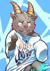 1boy, alternate costume, animal ears, blush, creature, furry, goat boy, goat ears, goat horns, highres, horns, jewelry, male focus, ring, salomon (tokyo after school summoners), shirt, short hair, sleeves past wrists, smile, solo, tokiniha netai (pm8sleepy), tokyo houkago summoners, white shirt