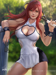 1girl, armband, breasts, brown eyes, cleavage, cleavage cutout, clothing cutout, contrapposto, cowboy shot, day, dress, erza scarlet, fairy tail, heart cutout, holding, holding eyewear, holding racket, large breasts, lips, long hair, looking at viewer, microdress, outdoors, patreon username, racket, realistic, red hair, shurakrgt, signature, smile, solo, sportswear, tennis racket, tennis uniform, white dress