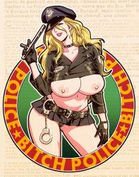 Rule 34 | 1girl, belt, belt buckle, black choker, black gloves, black panties, blonde hair, blue eyes, breasts, buckle, choker, collarbone, cropped jacket, cuffs, curvy, earrings, english text, erect nipples, female focus, french text, g-string, gloves, handcuffs, hat, highleg, highleg panties, highres, huge breasts, jacket, jewelry, leather, leather belt, leather choker, leather gloves, leather jacket, lips, lipstick, long hair, makeup, microskirt, miniskirt, mole, mole under eye, navel, nipples, no bra, one eye closed, original, panties, parted lips, pleated skirt, police, police badge, police hat, police uniform, policewoman, profanity, red lips, shiny, shiny skin, skirt, smile, solo, sparkle, string panties, tatsunami youtoku, teeth, thong, tonfa, underboob, underwear, uniform, upskirt, weapon, wink