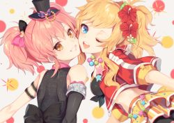 2girls, ;d, arm strap, asymmetrical sleeves, black bow, black headwear, black sleeves, blonde hair, blue eyes, bow, detached sleeves, floating hair, flower, grey background, grin, hair bow, hair flower, hair ornament, hat, hibiscus, idolmaster, idolmaster cinderella girls, jacket, jougasaki mika, kurotea, long hair, looking at viewer, looking back, midriff, mini hat, multiple girls, one eye closed, ootsuki yui, open clothes, open jacket, open mouth, pink bow, pink hair, red flower, red jacket, shiny, shiny hair, single sleeve, smile, twintails, two-tone bow, upper body, yellow eyes