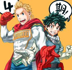 2boys, 4o080 yotabnc, belt, belt pouch, blonde hair, blue eyes, boku no hero academia, cape, commentary request, elbow gloves, freckles, gloves, green eyes, green hair, highres, male focus, midoriya izuku, multiple boys, muscular, muscular male, open mouth, pouch, red gloves, smile, speech bubble, spiked hair, teeth, togata mirio, v, white gloves, yellow background
