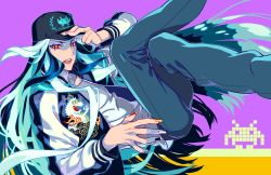 1boy, adjusting clothes, adjusting headwear, alternate costume, androgynous, aqua hair, aqua nails, azuma tou, baseball cap, black pants, blue hair, blue nails, contemporary, eyeshadow, face, fate/grand order, fate (series), feet out of frame, fingernails, forehead jewel, hat, jacket, long hair, makeup, male focus, multicolored hair, nail polish, open clothes, open jacket, orange eyes, orange nails, pants, qin shi huang (fate), red eyeshadow, red nails, sharp fingernails, shirt, smile, solo, streaked hair, very long hair, white hair, white nails, white shirt