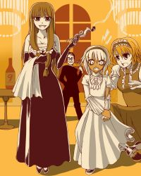 (9), 1boy, 3girls, alice margatroid, alternate costume, angry, asatsuki (cookie), bangs, bottle, breasts, chandelier, cleavage, closed mouth, commentary request, cookie (touhou), dark skin, dark skinned female, dress, elbow gloves, eyebrows visible through hair, formal, frilled dress, frills, full body, gloves, grin, hair between eyes, hairband, highres, holding, holding pipe, indoors, juliet sleeves, jyu (cookie), konpaku youmu, lightning bolt, long hair, long sleeves, looking at another, looking back, looking to the side, multiple girls, open mouth, patchouli knowledge, pipe, puffy sleeves, ripping, sakuranbou (cookie), sepia, shoes, short hair, smile, standing, strapless, strapless dress, suit, taisa (cookie), torn clothes, torn dress, touhou, tsuno (nicoseiga11206720), window, wine bottle