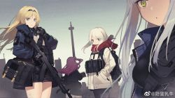 4girls, 9a-91 (girls frontline), alternate costume, ammunition pouch, an-94, an-94 (girls frontline), assault rifle, backpack, bag, blonde hair, blue eyes, bullpup, commentary request, fangdan runiu, girls frontline, gloves, green eyes, gun, hairband, hands in pockets, highres, holding, holding gun, holding weapon, jacket, long hair, looking at viewer, m590 (girls frontline), multiple girls, one side up, outdoors, pouch, purple hair, red scarf, rifle, scarf, shoulder bag, sidelocks, silver hair, smoke grenade, sniper rifle, trigger discipline, wa2000 (girls frontline), walther, walther wa 2000, weapon, white hair
