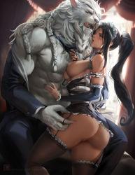 Rule 34   1boy, 1girl, absurdres, ass, bare shoulders, black hair, braid, breast press, breasts, dark skin, french maid nidalee, fur, furry, hetero, highres, large breasts, league of legends, maid, muscular, nidalee, nipples, no panties, ponytail, pussy, rengar, sakimichan, strap slip, thighhighs