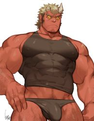 Rule 34 | 1boy, bara, bare arms, bare shoulders, black hair, black male underwear, black shirt, black tank top, briefs, broken horn, bulge, chest hair, colored sclera, colored skin, covered abs, covered erect nipples, erection, erection under clothes, facial hair, fang, goatee, gomtang, horns, large pectorals, leg hair, long sideburns, looking at viewer, male cleavage, male focus, male underwear, mature male, midriff peek, muscular, muscular male, navel hair, no pants, oni, oni horns, red oni, red oni (tokyo houkago summoners), red skin, shirt, short hair, sideburns, sidepec, solo, stubble, tank top, thick eyebrows, thick thighs, thighs, tied hair, tight, tight shirt, tokyo houkago summoners, underwear, yellow sclera