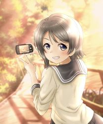 1girl, aqua eyes, artist name, artist request, birthday, blue eyes, blush, breasts, brown hair, buttons, cellphone, cloud, collarbone, collared shirt, day, female focus, from behind, grey hair, grey sailor collar, grey skirt, hair between eyes, happy birthday, highres, holding, holding cellphone, holding phone, light brown hair, long sleeves, looking at viewer, looking back, love live!, love live! sunshine!!, miniskirt, nail, nail polish, outdoors, parted lips, phone, pink nail polish, pink nails, plaid, plaid skirt, pleated, pleated skirt, sailor collar, school uniform, shirt, short hair, skirt, sky, smile, solo, sunset, taking picture, uranohoshi school uniform, v, watanabe you, white shirt