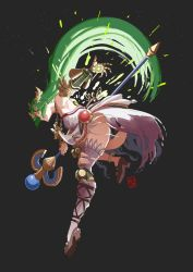 1girl, anklet, arm cannon, armpits, ass, automatic giraffe, black panties, breasts, circlet, cyborg, dress, forehead jewel, full body, goddess, green eyes, green hair, grey background, holding, holding staff, jewelry, joints, kid icarus, kid icarus uprising, long hair, mechanical arms, mechanical legs, medium breasts, nintendo, palutena, panties, prosthesis, prosthetic arm, prosthetic leg, pumps, robot joints, side slit, single mechanical arm, single mechanical leg, skindentation, solo, staff, strapless, strapless dress, underwear, very long hair, weapon, white dress