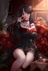 1girl, absurdres, black dress, black hair, cake, choker, collar, collarbone, couch, dress, earrings, food, frilled collar, frills, gem, hair ornament, hairband, highres, jewelry, long hair, looking at viewer, original, parted lips, pippin sol, red eyes, sitting