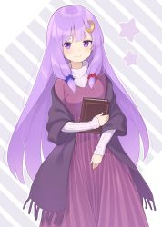 1girl, alternate costume, bangs, blush, book, cardigan, commentary request, crescent, crescent hair ornament, dress, eyebrows, eyebrows visible through hair, eyelashes, hair ornament, hair scrunchie, highres, holding, holding book, kanpa (campagne 9), long hair, long sleeves, looking at viewer, no hat, no headwear, off shoulder, patchouli knowledge, purple dress, purple eyes, purple hair, scrunchie, smile, solo, star (symbol), striped, sweater, touhou, very long hair