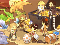 6+boys, ?, acidus (ragnarok online), ancient mimic, animal print, armor, armored boots, assassin cross (ragnarok online), bangs, belt, biretta, black cape, black coat, black footwear, black gloves, black pants, black shirt, blonde hair, book, boots, brown belt, brown capelet, brown eyes, brown footwear, brown gloves, brown hair, brown pants, brown vest, cape, capelet, chainmail, chains, chibi, chicken (food), chicken leg, closed mouth, coat, coin, commentary request, copyright name, cross, cross necklace, crystal, dagger, dragon, eating, egg, emblem, endo mame, ferus (ragnarok online), fingerless gloves, food, full body, fur collar, gauntlets, gem, gloves, green cape, green eyes, hair between eyes, high priest (ragnarok online), holding, holding dagger, holding instrument, holding staff, holding sword, holding weapon, instrument, jamadhar, jewelry, knife, knight (ragnarok online), layered clothing, leopard print, long sleeves, looking at viewer, lute (instrument), male focus, map, mimic, mimic chest, minstrel (ragnarok online), multiple boys, necklace, open mouth, pantaloons, pants, pauldrons, pearl necklace, purple eyes, ragnarok online, red eyes, red scarf, red shirt, scarf, shadow chaser (ragnarok online), shirt, shoes, short hair, shoulder armor, shrug (clothing), smile, spoken question mark, staff, sword, tabard, torn cape, torn clothes, torn scarf, treasure chest, vest, waist cape, weapon, white cape, white coat, white shirt, wizard (ragnarok online)