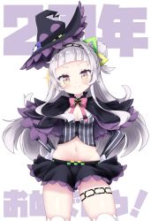 >:), 1girl, bangs, black capelet, black headwear, black skirt, blunt bangs, blush, bow, bowtie, capelet, cocozasa, cowboy shot, cropped shirt, doyagao, grey shirt, hair ornament, hairband, hands on hips, hat, hexagram hair ornament, hololive, layered capelet, long hair, long sleeves, looking at viewer, lowleg, lowleg skirt, microskirt, midriff, murasaki shion, navel, one side up, pink neckwear, pinstripe pattern, pinstripe shirt, purple capelet, shirt, short eyebrows, side bun, sidelocks, silver hair, skirt, smile, smug, solo, stomach, striped, thigh strap, thighhighs, thighs, tilted headwear, v-shaped eyebrows, virtual youtuber, witch hat, yellow eyes