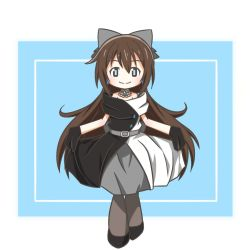 1girl, aqua background, aqua eyes, artist name, artist request, back bow, bare shoulders, belt, birthday, black dress, black footwear, black gloves, black high heels, black legwear, black skirt, blue eyes, blush, bow, breasts, brown hair, buttons, choker, cleavage, collarbone, dress, drop earrings, earrings, female focus, full body, gloves, grey bow, grey skirt, hair between eyes, hair bow, happy birthday, high heels, high ponytail, holding, holding clothes, holding skirt, jewelry, lace, lace gloves, long hair, looking at viewer, love live!, love live! nijigasaki high school idol club, love live! school idol festival, multicolored, multicolored clothes, necklace, off-shoulder dress, off shoulder, ousaka shizuku, pantyhose, parted lips, ponytail, sidelocks, skirt, sleeveless, sleeveless dress, small breasts, smile, solitude rain (love live!), solo, two-tone dress, white background, white bow, white dress, white skirt