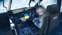 2girls, absurdres, aircraft, airplane, airplane interior, akane (blue archive), apron, asuna (blue archive), bangs, black headwear, blonde hair, blue archive, brown eyes, cloud, cockpit, dated, dress, frilled apron, frills, glasses, gloves, halo, hat, headphones, headset, highres, holding, long hair, long sleeves, maid, maid headdress, multiple girls, seat, shade, signature, sitting, sky, utachy, vehicle interior, white apron, white gloves