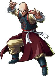 1boy, bald, black eyes, blue sky, boots, cape, clothes lift, cloud, cloudy sky, day, dragon ball, dragon ball fighterz, dragonball z, fingernails, frown, full body, highres, long sleeves, looking away, male focus, official art, serious, shaded face, sky, solo, standing, sweatdrop, tenshinhan, third eye, toriyama akira, wind, wind lift