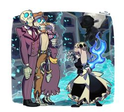 angry, apron, arms behind back, black nails, bloody marie (skullgirls), blue background, bob cut, bow, business suit, circlet, dress, exposed bone, facial hair, feather hair ornament, fedora, fire, flapper girl, formal, frown, grey hair, hair ornament, hat, juliet sleeves, light brown hair, long sleeves, maid, maid headdress, mustache, nail polish, necktie, nov, puffy sleeves, purple hair, ribs, skeleton, skull hair ornament, skull heart, skullgirls, suit, sweatdrop, torn clothes, twintails