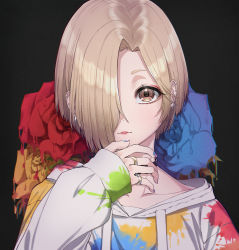 1girl, applepie (12711019), black background, black choker, blonde hair, blue flower, blue nails, blue rose, brown eyes, choker, collarbone, commentary, drawstring, ear piercing, earrings, flower, hair over one eye, hand up, highres, hood, hood down, hoodie, hoop earrings, idolmaster, idolmaster cinderella girls, idolmaster cinderella girls starlight stage, jewelry, long sleeves, looking at viewer, nail polish, paint on clothes, paint stains, parted lips, piercing, red flower, red rose, ring, rose, shiny, shiny hair, shirasaka koume, short hair, simple background, sleeves past wrists, solo, upper body, white hoodie, yellow flower, yellow rose