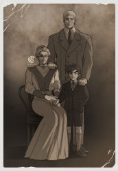 1girl, 2boys, artist name, breast pocket, buttons, calf socks, catneylang, chair, cheekbones, child, closed mouth, collared shirt, commentary, english commentary, erina pendleton, film grain, formal, frills, full body, glasses, grandmother and grandson, hair bun, hand holding, hand on another's shoulder, highres, jacket, jewelry, jojo no kimyou na bouken, joseph joestar (young), loafers, long skirt, long sleeves, looking at viewer, monochrome, multiple boys, multiple sources, neck ribbon, necklace, necktie, old, old man, old woman, older, pants, photo (object), pocket, ribbon, robert eo speedwagon, round eyewear, scar, scar on face, sepia, shirt, shoes, short hair, shorts, sitting, skirt, smile, socks, standing, suit, symbol commentary, watermark, younger