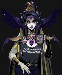 1girl, armlet, armor, beehive hairdo, belt, black background, black hair, breasts, circlet, cleavage, clothes writing, coffee mug, commentary, contemporary, cup, denim, earrings, english commentary, eyeliner, fingernails, forehead jewel, fuck-me shirt, gauntlets, hades (game), hand on thigh, headpiece, highres, jeans, jewelry, large breasts, lips, lipstick, long hair, looking at viewer, makeup, mature, meme attire, mug, nail polish, nyx (hades), pale skin, pants, pauldrons, purple lips, purple nails, ring, shoulder armor, single gauntlet, solo, standing, straight hair, thick eyebrows, vectorspyke, very long hair, yellow eyes
