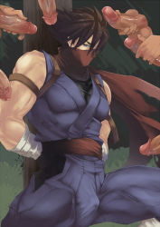 Rule 34 | 6+boys, arms behind back, bangs, bare arms, bare shoulders, blue eyes, bound, bound arms, brown hair, bulge, disembodied penis, erection, forest, hatonasi, highres, japanese clothes, male focus, male masturbation, masturbation, multiple boys, muscular, nature, ninja, ninja mask, original, outdoors, penis, pole, red scarf, sash, scarf, solo focus, spiked hair, spread legs, testicles, uncensored, veins, veiny penis, yaoi
