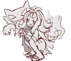 Rule 34   1girl, acerola (pokemon), bangs, blush, creatures (company), dress, dress lift, fang, fangs, female focus, floating, from side, full body, game freak, gastly, gen 1 pokemon, ghost, greyscale, hair ornament, half-closed eyes, hands up, happy, haunter, lifted by self, light blush, medium hair, monochrome, nintendo, open mouth, pokemon, pokemon (creature), pokemon (game), pokemon sm, sandals, short sleeves, sidelocks, simple background, sketch, skin fang, smile, solo focus, sp (sweet potato), squatting, tied hair, toeless footwear, tongue, tongue out, topknot, white background