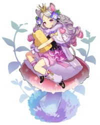 >:), 1girl, ame8desu, animal ears, bloomers, bubble skirt, cape, capelet, cheese, closed mouth, drill hair, flower, food, full body, fur-trimmed cape, fur-trimmed capelet, fur-trimmed gloves, fur trim, giant mushroom, gloves, gradient hair, grey hair, hair flower, hair ornament, highres, leg warmers, long hair, looking at viewer, mouse ears, mouse girl, mouse tail, multicolored hair, object hug, original, pink bloomers, pink eyes, pink hair, silver hair, sitting, skirt, skirt set, smile, solo, tail, underwear