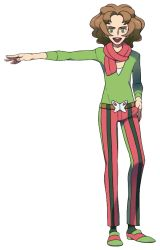 1boy, :d, bangs, brown hair, burgh (pokemon), creatures (company), full body, game freak, green eyes, gym leader, hand on hip, male focus, medium hair, nintendo, official art, oomura yuusuke, open mouth, outstretched arm, pants, parted bangs, pokemon, pokemon (game), pokemon bw, scarf, shirt, shoes, smile, solo, standing, striped, teeth, tongue, transparent background, vertical-striped pants, vertical stripes
