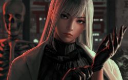 1girl, absurdres, bangs, black gloves, black sweater, blue eyes, blurry, blurry background, blurry foreground, gloves, guweiz, hand up, highres, jacket, lips, long hair, looking at viewer, open clothes, open jacket, original, parted bangs, ribbed sweater, skeleton, solo, sweater, symbol commentary, turtleneck, turtleneck sweater, white hair, white jacket