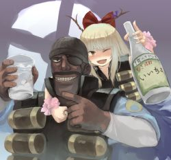 1boy, 1girl, :d, alternate hair color, ammunition, bangs, black headwear, blonde hair, bottle, bow, cup, dark skin, dark skinned male, eyepatch, facial hair, fangs, hair bow, half-closed eyes, holding, holding bottle, holding cup, horn ornament, horn ribbon, horns, ibuki suika, long hair, long sleeves, looking at viewer, omaesan (camp-192), one eye closed, open mouth, orange eyes, purple ribbon, red bow, ribbon, smile, team fortress 2, the demoman, touhou, translation request, upper body, wrist cuffs