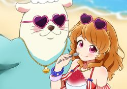 1girl, :p, aikatsu!, aikatsu! (series), beach, blurry, blurry background, blush, bracelet, braid, close-up, closed mouth, commentary request, crown braid, depth of field, detached sleeves, eyebrows visible through hair, eyewear on head, frilled swimsuit, frills, halterneck, heart, heart-shaped eyewear, highres, holding, holding spoon, jewelry, long hair, looking at viewer, mascot, mijumaruko, multicolored, multicolored clothes, multicolored swimsuit, ocean, oozora akari, oozorakko (aikatsu!), orange hair, otter costume, pink eyes, reaching out, red swimsuit, sand, seashell, self shot, shaved ice, shell, shell necklace, shiny, shiny skin, smile, spoon, star (symbol), star print, striped, striped swimsuit, summer, sunglasses, swimsuit, tongue, tongue out, upper body, white swimsuit